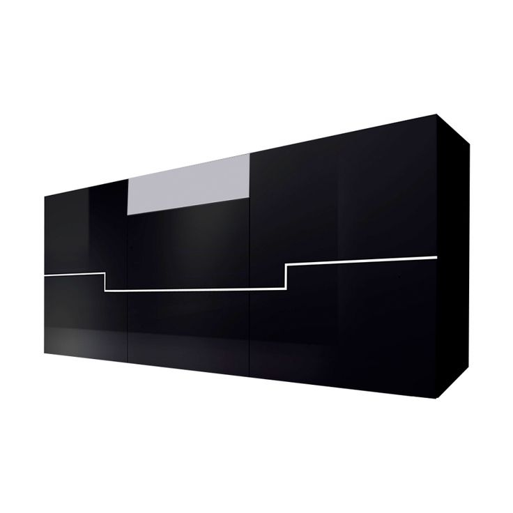 420 chf sideboard twin hochglanz schwarz wei home. Black Bedroom Furniture Sets. Home Design Ideas