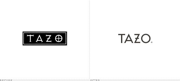 Tazo Logo, Before and After
