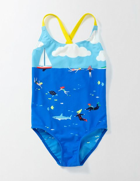 """LOVE this graphic one piece from Boden because it shows girls being active and adventurous (not just lounging on the beach)! """"Freckles, sea salt curls and sandy toes. We know you love the seaside, so we've made this pretty swimsuit in a range of prints and colours to choose from. The nylon is stretchy so it won't restrict your splashing, it's fast-drying and it's got UPF 50+ sun protection too."""" Sizes 2-12"""