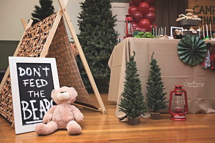 Camp Party Camping Theme Tents Bears Woodland Decor Pine Trees Tree Teddy Bear Please Don't Feed The Bears Sign Chalkboard Lanterns Lumberjack Plaid Woods Campsite Camping Teepee First Birthday Theme Boy Party