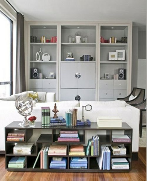 stauraum ideen niedriges Bücherregal