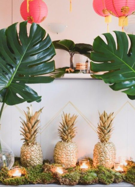We Canu0027t Get Over How Cute This Party Theme Is. Southern Hospitality Meets  NYC Possibility Came Alive In Spray Painted Pineapples, Pink Paper Lanterns  And ... Part 26