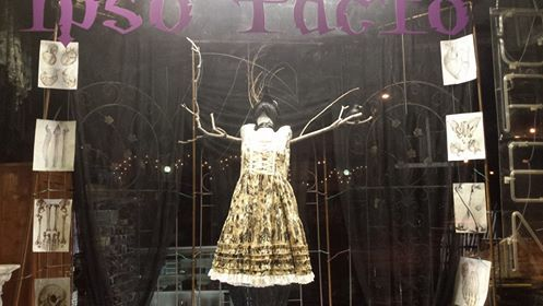 """Latest Ipso Facto window display """"skeletal bird woman"""" featuring Hell Bunny Potion dress. Feb 2016 All items available at www.ipso-facto.com and our Fullerton, CA store."""