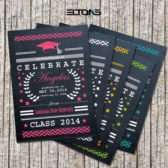 Custom Chevron & Chalkboard Double-Sided College Graduation Invitation/Announcement 5x7 on Etsy, $15.00