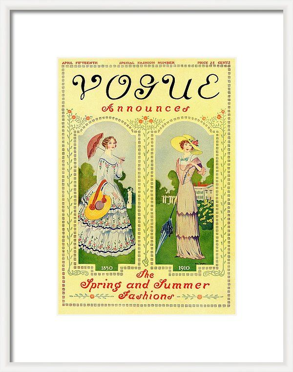 Illustration Framed Print featuring the photograph Vogue Cover Featuring Two Nineteenth Century by Helen Dryden