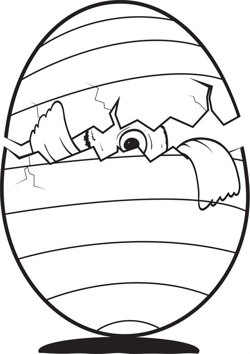 fun easter coloring page for kids of a cracked egg with a baby chick peeking out