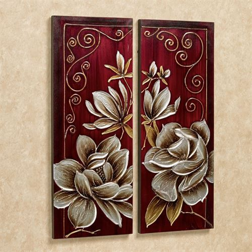 Florals and Scrolls Canvas Art Red Set of Two