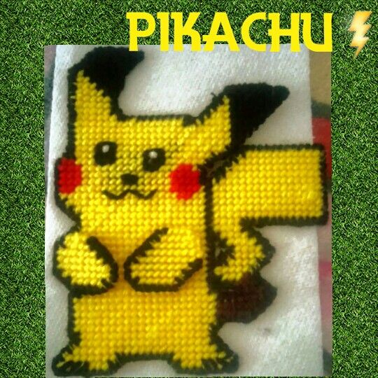 #pikachu #Pokémon #art #needlepoint #plastic #canvas #creative #DIY #homemade #f4f #yellow #lightning #cartoon