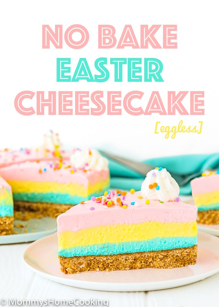 This super easy No Bake Easter Cheesecake is rich, dense, creamy, and smooth! Perfect for your Easter celebration, or any occasion your sweet tooth desires! https://mommyshomecooking.com