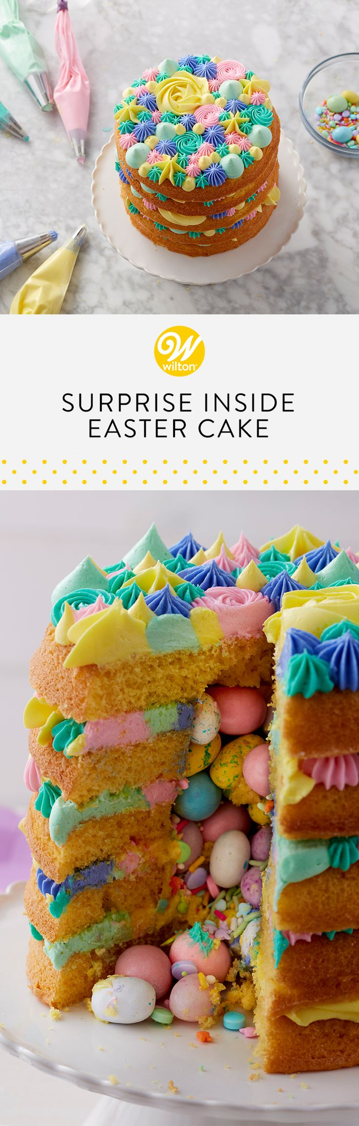 What is more exciting than cutting into a cake and having candy and sprinkles tumble out? Eating it all, of course! This colorful springtime cake will surprise your guests, and be the hit of your Easter sweet table. #wiltoncakes #cakes #cakeideas #surprisecake #candy #sprinkles #easter #eastercakes #easterideas #easterdesserts #buttercream #piping #wiltontips #inspiration