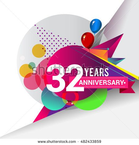 32 years Anniversary logo, Colorful geometric background vector design template…