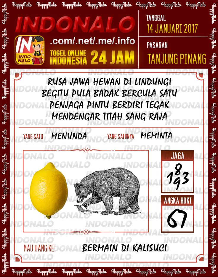 Kode Hoki 2D Togel Wap Online Live Draw 4D Indonalo Tanjung Pinang 14 Januari 2017
