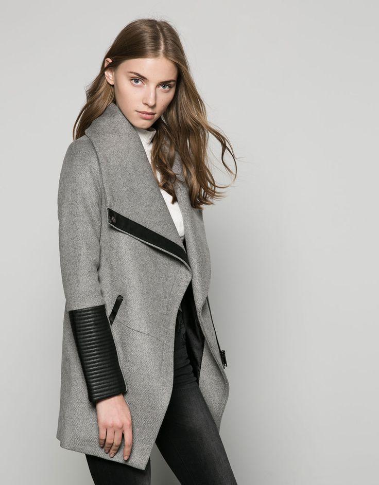 Wool coat with imitation leather detail - Coats - Bershka Bosnia and Herzegovina