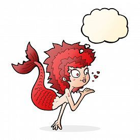 pic of mermaid - cartoon mermaid blowing a kiss with thought bubble - JPG