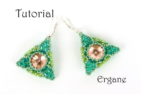 Pretty earrings in shape of triangle and circle inside triangle. Not too small, not too big and very light . These earrings are perfect for wearing everyday. Did You like geometry? I did very much. Those earrings reminds me one of math teacher from school years.  This tutorial is for beginner Beaders.   #beading #beadingtutotorial #beadingearrings #beadingpattern #earrings #jewelry #swarovski #beadedjewelry #triangleearrings