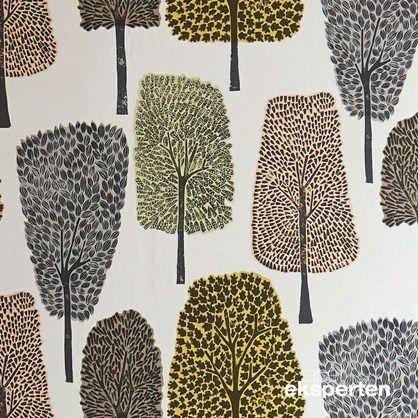 Cedar - retro tapet med træer blush