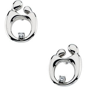 Amazon.com: Mother and Child Diamond Post Earrings By Janel Russell Solid 14karat White or Yellow Gold Mothers Jewelry (14K White Gold): Jewelry