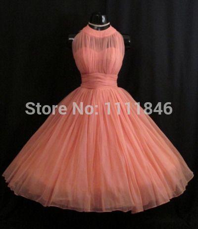 Online Shop Actual photo vintage short coral bridesmaid dresses uk pleated tulle junior bridesmaid gowns dress for girls brides maid dresses|Aliexpress Mobile