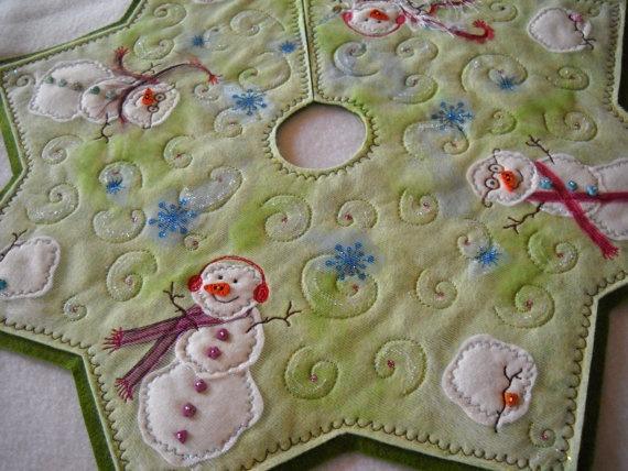 Snowman Christmas Tree Skirt Victorian handmade