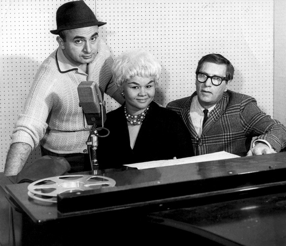 Chess Records founder Phil Chess, Etta James and record producer Ralph Bass pose for a portrait at Chess Records Studios in Chicago, Illinois in 1960.