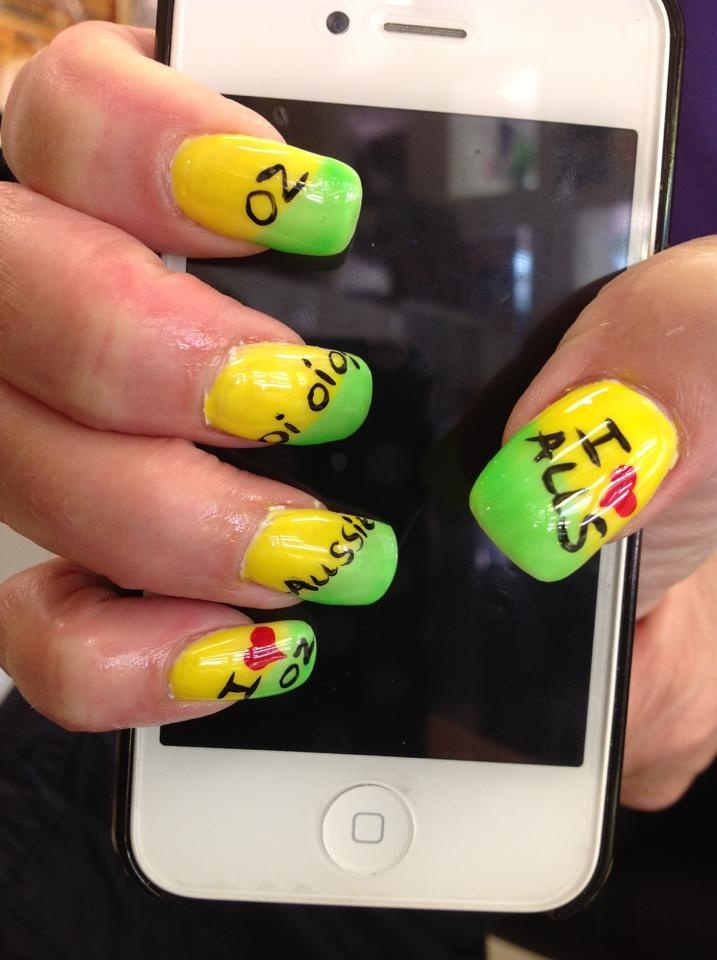 my australia day nails by Oanh :)