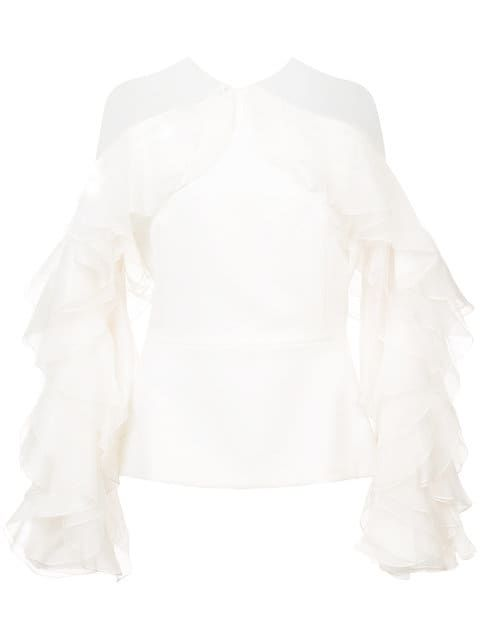 008efc1d42d0b Shop Marchesa ruffled blouse