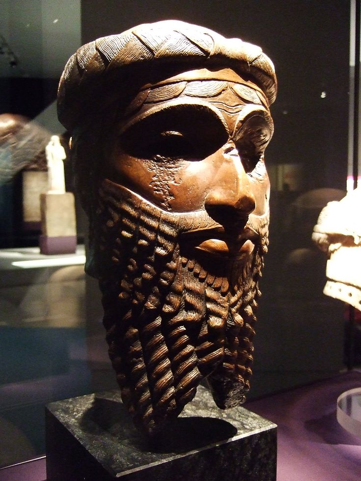 Head of Akkadian king - either Sargon or Naramsin. 2300-2200 BCE. Mesopotamia. Copper, from original bronze cast.