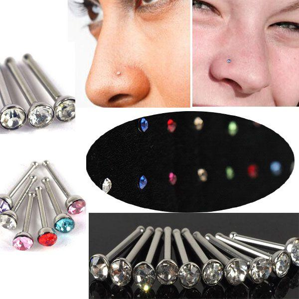 1 sheet / 40 pcs Women Fashion Clear Crystal Rhinestone Bulk Bone Straight Stud Bar Nose Stud Piercing Ring For Women Jewelry
