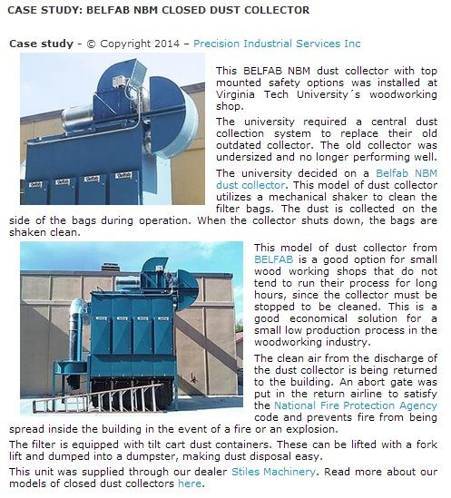 CASE STUDY: BELFAB NBM CLOSED DUST COLLECTOR - © Copyright 2014 – Precision Industrial Services Inc