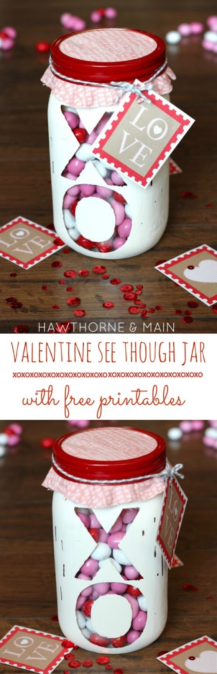 Valentine's Day Mason Jar - an easy DIY Valentine's Day gift. Fill with your favorite red pink and white candy!