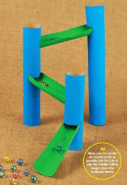 Use cardboard tubes to make a homemade marble run!