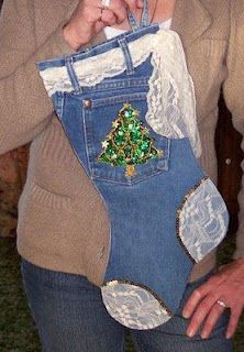 Christmas Stocking made from old jeans!!! Bebe'!!! Love this cute Christmas stocking!!!