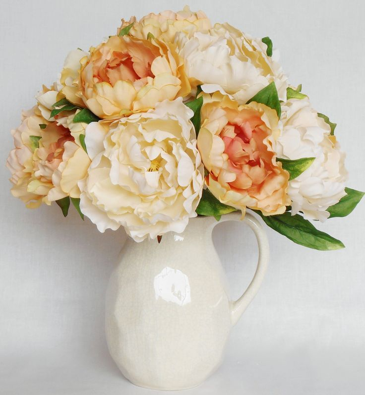 RESERVED FOR JACKIE Apricot Peonies Cream Peonies