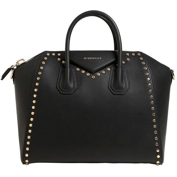 Givenchy Women Medium Antigona Studded Leather Bag (€2.830) ❤ liked on Polyvore featuring bags, handbags, shoulder bags, black, studded leather purse, studded handbags, givenchy shoulder bag, studded purse and givenchy purse