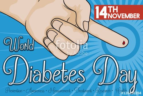 Finger with Blood Drop Measuring Glucose in World Diabetes Day