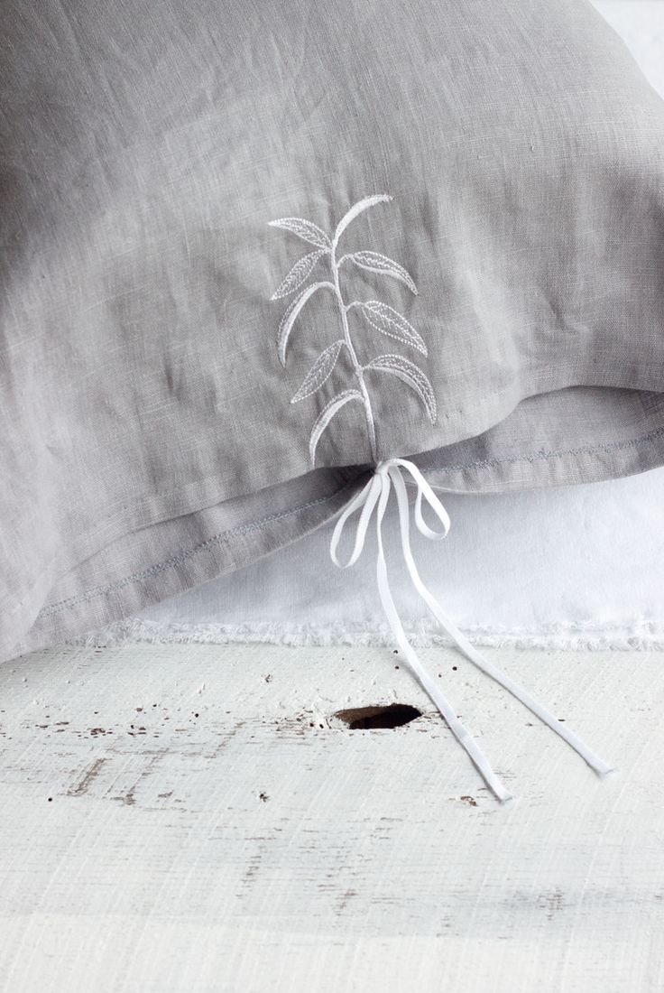 trish and co botanical embroidered linen pillowcase