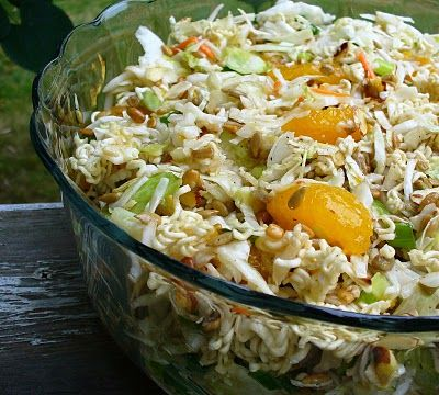 This is the recipe for my Top Ramen Noodle Salad. Can become gluten free with rice noodles.