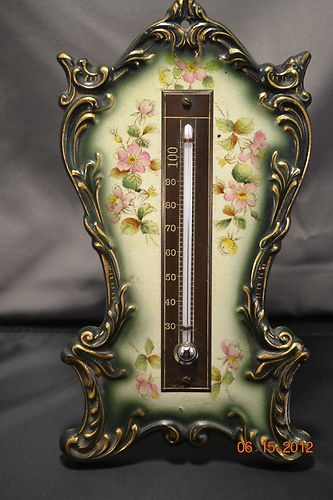 Antique Porcelain Handpainted Thermometer Easel, RARE, Unusual Royal Bohn