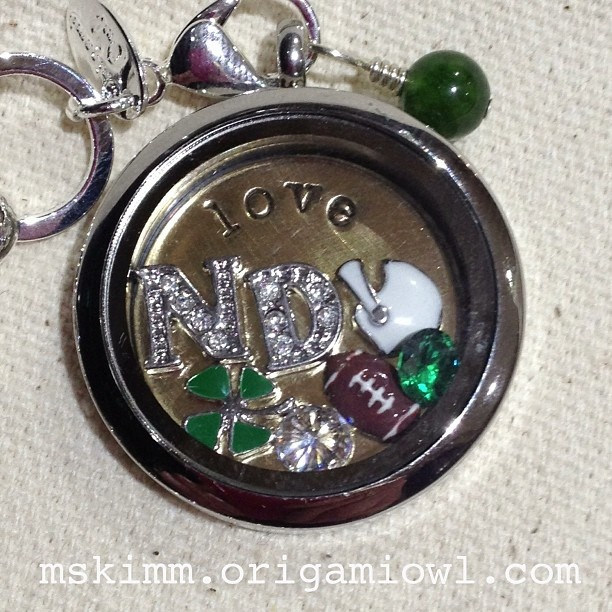 Origami Owl custom locket.  Notre Dame football!  Contact me for more information. Oh my gosh - MikaJo this is so your whole family!  Like a whole afternoon of this wasn't enough!