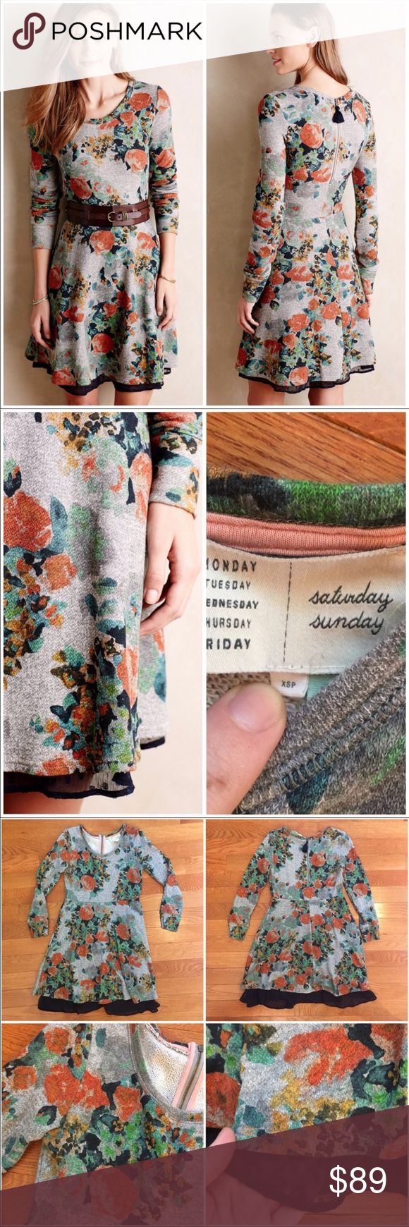 "ANTHROPOLOGIE | Saturday Sunday Terry Floral Dress The perfect dress for 🍂FALL! This is so versatile and can be worn practically to anything. Amazing dress in French terry. Fit and flare style. EUC. 15"" bust, 13"" waist, 33"" long. EUC. Size XS Petite Anthropologie Dresses"