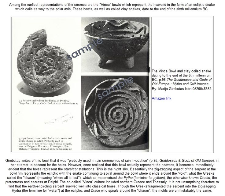 """Bulgarian Vinca bowl and clay coiled snake dating to the end of the 6th millenium BC. The zig-zagging aspect of the serpent represents the ecliptic snake spiral till it ends around the """"void"""", or what the Greeks called the 'chasm'. Pytho, the Oracle at Delphi. Greece and Thessaly. Draco and Hydra (feminine for water) are similar motifs. [Marija Gimbutas: The Goddesses and Gods of Old Europe- Myths and Cult Images]"""