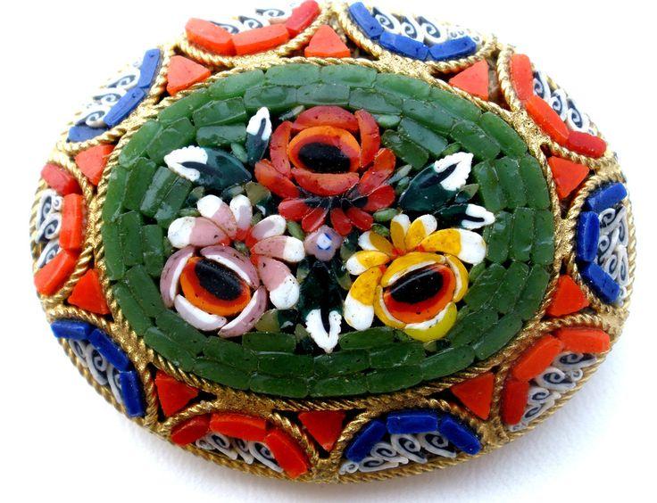 Vintage Italian Micro Mosaic Gold Flower Brooch Glass Pin