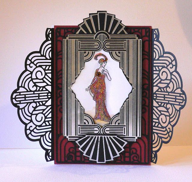 Artdeco Creations Brands: Ritzy Elegant Fan card by Adriana Bolzon