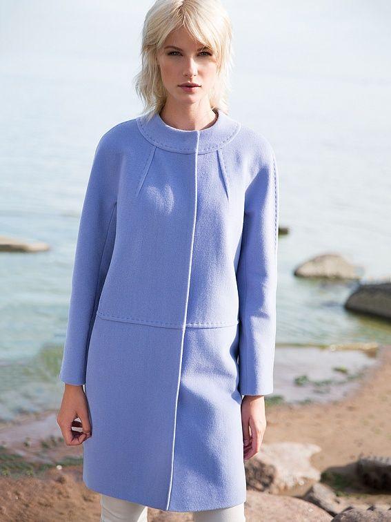 Пальто женское цвет холодный голубой, пальтовая ткань, артикул 3013451p10056