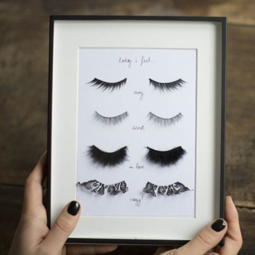"""DIY Fake Eyelashes Wall Art Tutorial from Make My Lemonade here. Her piece is labeled, """"Today I feel"""" and then descriptions for each pair of eyelashes. I used Chrome to translate from French to Englis"""