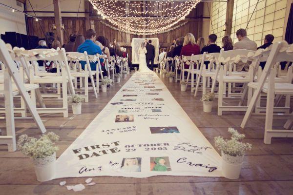 DIY relationship timeline aisle runner! L.O.V.E.