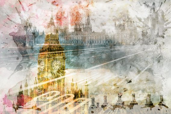 Neu in meiner Galerie bei OhMyPrints: City Art Big Ben  #London #Big #Ben #modern #dekorativ #decorative #UK #England #Westminster #bunt #colourful #collage