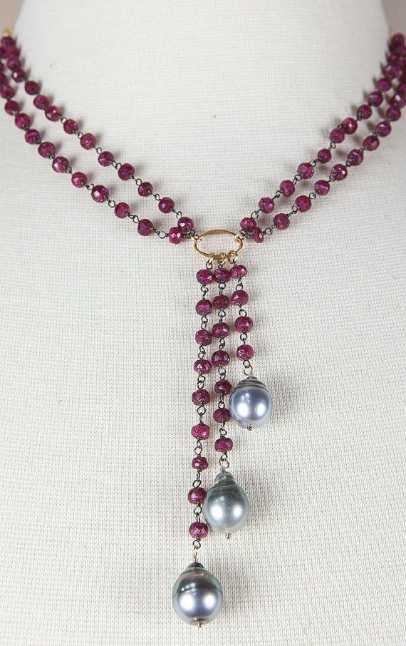 TAHITIAN PEARL NECKLACE - ruby necklace - rosary chain - July birthstone - deco…