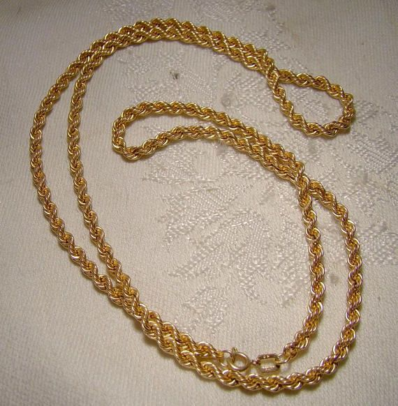 10k Yellow Gold Rope Twist Chain Necklace 1960s Chain Necklace Necklace Rope Twist