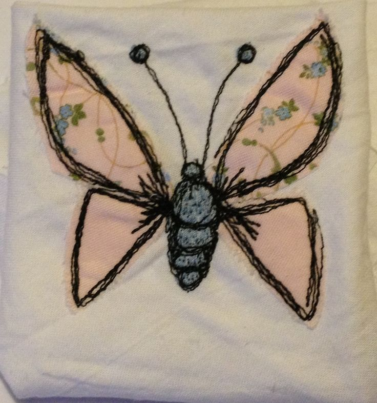 Free motion machine embroidery butterfly- inspired by Poppy Treffry